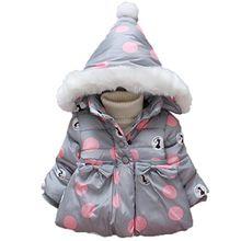 Longra Baby-Mädchen Jacke Übergangsjacke Steppjacke Baby Winterjacke Parka mit Kapuzenmäntel Baby Wintermantel Hooded Jacket Oberbekleidung(0-36Monate) (80-90CM 12M-24Monate, Gray)