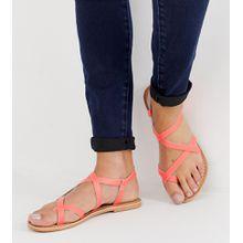 New Look - Sandalen mit Riemendesign in Neon-Korallenrot - Orange