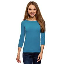 oodji Collection Damen T-Shirt mit 3/4-Arm, Blau, DE 38/EU 40/M
