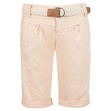 Fresh Made Damen Bermuda-Shorts in Pastellfarben mit Flecht-Gürtel | Elegante kurze Hose im Chino-Style light-orange M