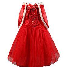D'amelie Snowwhite Prinzessin Kinder Kleid Mädchen Kostüm Weihnachten Verkleidung Karneval Rollenspiele Party Halloween Fest