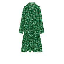 Floral Gathered Shirt Dress - Green