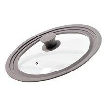 IDELICE PR256851A Universal-Deckel für Kochtopf und Pfanne, Silikon 29,5x 29,5x 5,9cm, Taupe