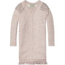 Scotch & Soda R'Belle Mädchen Kleid Fringed Hem Sweater Dress, Violett (Plum Melange 751), 140 (Herstellergröße: 10)