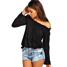 Minetome Damen Sexy Schulterfrei Boot-Ausschnitt Langarmshirt Bluse Clubwear Party T-Shirt ( Schwarz EU XS )