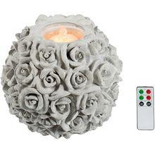 """LED Brunnen """"Rose"""" mit Fernbedienung grau"""