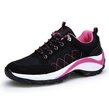 KOUDYEN Damen Mesh Sportschuhe Trendfarben Runners Schnür Sneakers Laufschuhe Fitness,XZ006-black-EU37