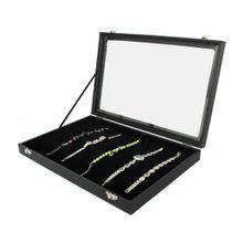 Yudu® Schaukasten für Ketten Armbänder mit Glasdeckel schwarz