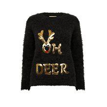Christmas Wishes Damen NEU DESIGNER Weihnachts Pullover weich Wimper gestrickt Pullover - Oh Reh - schwarz, XL