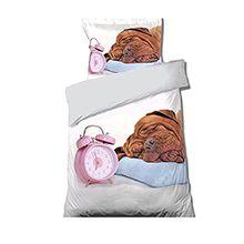 Wecker und Toutou Hund Bettwäsche Bettbezug + Kissenbezug Bettwäsche 1Person 100% Baumwolle