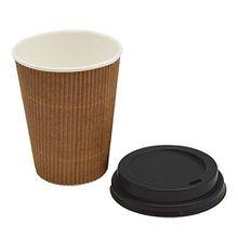 Riffelbecher mit Deckel aus Kraftpapier - für Kaffee, Tee, Heißgetränke - 340 ml - 20 Stück