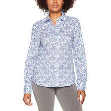 eterna Damen Bluse Comfort Fit Langarm Blau Bedruckt mit Hemd-Kragen, Blau (Blau 16), 44