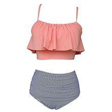 Laorchid Damen Badeanzug Bikini Set Hohe Taille Volant Oberteil orange Top + Streifen Slip XXL