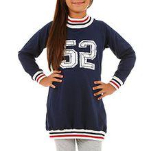 Sport Tuniken Pullover für Mädchen Streetwear Gr. 116-158 (128-134, Marineblau)