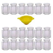 Viva Haushaltswaren 18 x kleines Einmachglas 110 ml mit weißem Deckel, sechseckige Glasdosen als Marmeladengläser, Gewürzdosen, Gastgeschenk etc. verwendbar (inkl. Trichter)