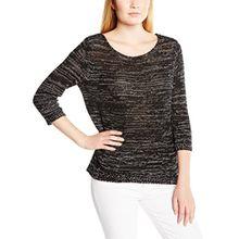 TOM TAILOR Denim Damen Pullover tapeyarn mouliné pullover/504, Gr. 36 (Herstellergröße: S), Schwarz (Black 2999)