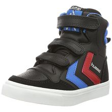 Hummel Unisex-Kinder Stadil JR Leather High Top, Schwarz (Black/Brilliant Blue), 32 EU