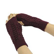 Bluelans® Strick Armstulpen Pulswärmer fingerlos Handschuhe Damenhandschuhe Winterhandschuhe Fäustlinge Fausthandschuhe (Claret)