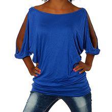 G305 Damen Shirt Tunika Bluse Pullover T-Shirt Tank Top Minikleid, Farben:Blau;Größen:Einheitsgröße