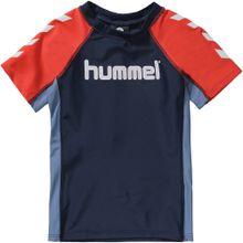 Hummel Schwimmshirt blau / dunkelblau / neonorange / weiß