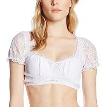 Stockerpoint Damen Regular Fit Trachtenbluse Bluse B-5050, Gr. 42, Weiß (Weiß)