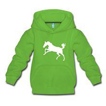 Spreadshirt Springendes Pferd Umriss Pony Kinder Premium Hoodie, 134/146 (9-11 Jahre), Hellgrün