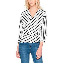 ONLY Damen Bluse Onlbetty 7/8 Wrap Blouse Stripe WVN, Mehrfarbig (Cloud Dancer Stripes: Blue Nights), 36
