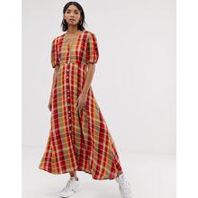 Neon Rose - Kariertes Maxi-Freizeitkleid mit Puffärmeln - Mehrfarbig