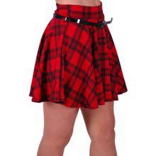 Eyecatch - Scotia Moderne Damen Schottenmuster Ausgestelltes Minirock Rot M/L