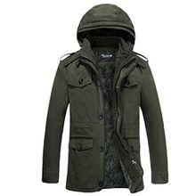 Zicac Neu Herbst Winter Herren Freizeit Jacke Stützgerüst Vergrößern Größe Baumwolle Kapuze Wärm Mantel (Asien:3XL(EU:L), grün)