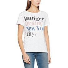 Tommy Jeans Hilfiger Denim Damen THDW Basic CN T-Shirt S/S 13, Weiß (Bright White 113), Large