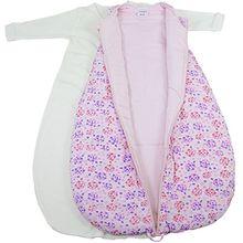 Baby 2-in-1-Schlafsack-Set,Blümchenblätter, wattiert + warm gefüttert für kühlere Tage, 4-Jahreszeiten-Baumwolle Größe 86/92