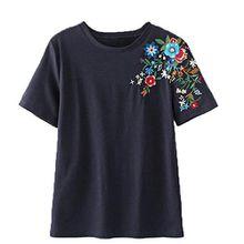 Vovotrade® Frauen-Blumen-Stickerei-Hemd-Kurzschluss-Hülsen-Blusen-T-Shirts Damen-Beiläufige Oberseiten (L, Marine)