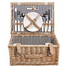 BUTLERS Picknickkorb 2 Personen 40x30x18 cm beige/blau  Erwachsene