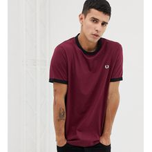 Fred Perry - Schmales Ringer-T-Shirt in Burgunder, exklusiv bei ASOS - Rot