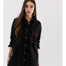 Missguided - Schwarzes Mini-Hemdkleid aus Denim mit abgesetzten Ziernähten - Schwarz
