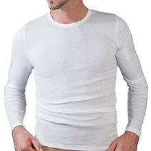 HERMKO 3640 Herren langarm Shirt aus 100% EU Baumwolle, long-sleeved underwear for men Männer Unterhemd mit langen Armen, Farbe:weiß, Größe:D 4 = EU S