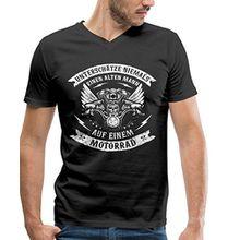 Spreadshirt Alter Mann auf Motorrad Biker Spruch Männer Bio-T-Shirt mit V-Ausschnitt von Stanley & Stella, XXL, Schwarz