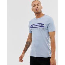 G-Star 4 - Schmales, hellblaues T-Shirt aus Bio-Baumwolle mit Logo-Grafikprint auf der Brust - Blau