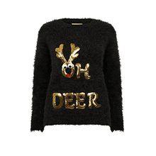 Christmas Wishes Damen NEU DESIGNER Weihnachts Pullover weich Wimper gestrickt Pullover - Oh Reh - schwarz, L