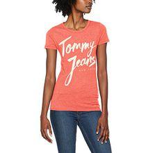 Tommy Jeans Damen T-Shirt Tjw Script Logo Tee, Rosa (Spiced Coral 689), X-Small