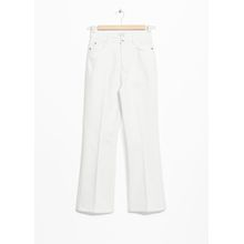 Cropped Mid Rise Flared Jeans - White