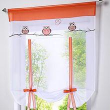 Souarts Eule Stickblume Gardine Raffgardinen Vorhang Raffrollo Deko für Wohnzimmer Schlafzimmer Studierzimmer 80*100cm(B*H)
