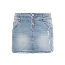 Sublevel Damen Mini-Jeansrock Stretch kurz im Used-Look mit destroyed Parts blue L