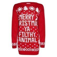 """Amberclothing - Herren Damen Pullover Neuheit Weihnachten Pullover """"Merry Christmas Ya Filthy Animal"""" Retro - M/L, Rot"""