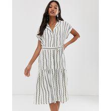 River Island – Hemdkleid mit Gürtel und Ketten-Print-Weiß