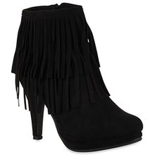 Damen Ankle Boots Fransen Stiefeletten Zipper Schuhe 110679 Schwarz 38 Flandell