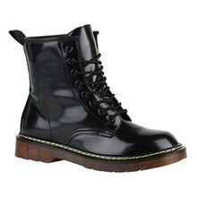 Stiefelparadies Coole Worker Boots Kinder Outdoor Stiefeletten Profil Sohle Schuhe 149019 Schwarz Bernice Lack 36 Flandell