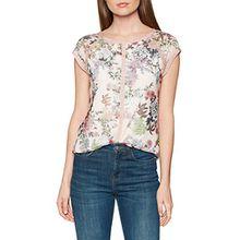 TAIFUN Damen T-Shirt 1/2 Arm, Mehrfarbig (Misty Rose Druck 3007), 44