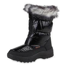 Warm Gefütterte Kinder Snowboots Winter Stiefel Modische Boots Schuhe 108349 Schwarz 31 Flandell